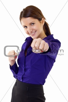 business woman getting into a fight