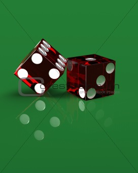 Right handed casino dice on green