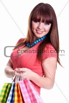 beautiful young woman shopping