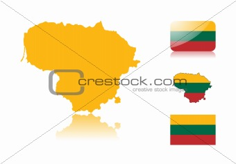 Lithuanian  map and flags