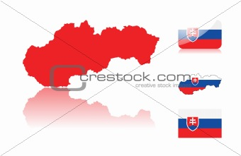 Slovakian map and flags