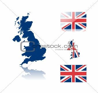 British map and flags