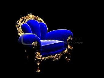 classic golden chair in the dark