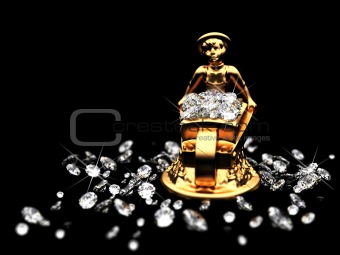 a lot of diamonds and golden statuette