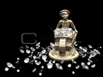 a lot of diamonds and marble statuette