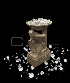 a lot of diamonds and statuette