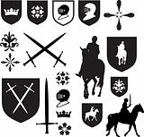 Set of old style medieval icons and symbols