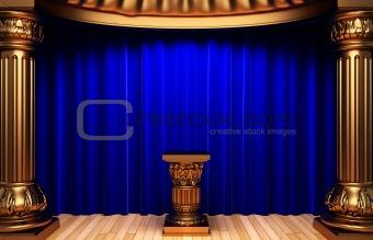 blue velvet curtains, gold columns and Pedestal