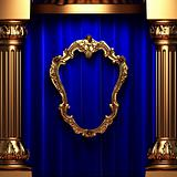 blue curtains, gold columns and frame