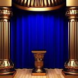 blue velvet curtains, gold columns and Pedestal