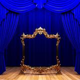 blue curtains, gold frame