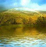 rainbow on a mountain