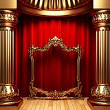 red curtains, gold columns and frame