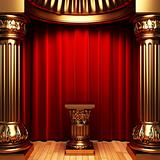 red velvet curtains, gold columns and Pedestal
