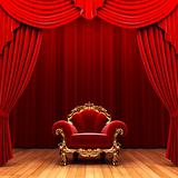 Red velvet curtain and chair
