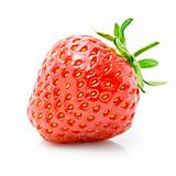 fresh red strawberry with green leaf isolated