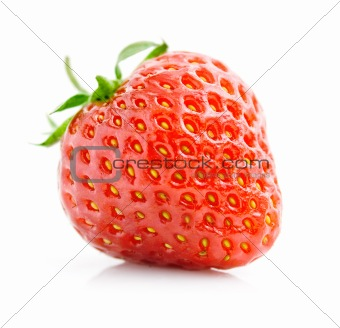 single fresh red strawberry isolated on white