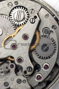 Old grungy wristwatch clockwork close-up