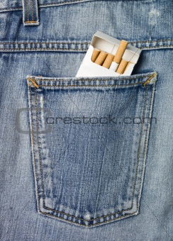 Cigarettes in a jeans pocket
