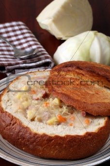 Cabbage soup i a bread bowl