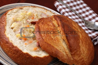 Cabbage soup in a bread bowl