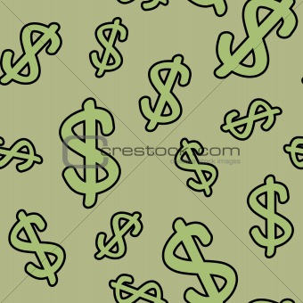 Background with symbols of dollar