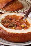 Goulash soup in a bread bowl