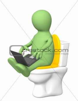 Puppet, sitting with a laptop on toilet bowl