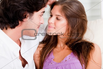 Close up of romantic young couple in passion look