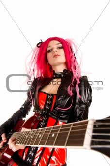 Portrait of attractive girl with guitar