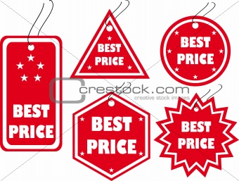Set of red vector tag with the signature of the best price