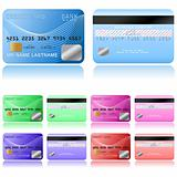 Credit cards on a white background, vector illustration