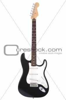 Black rock guitar isolated on white