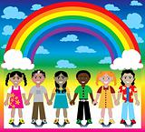 Rainbow Background with Kids