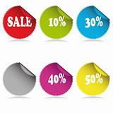 Glossy sale tag stickers with discount and reflection.