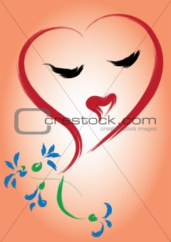 Greeting card with heart and flowers