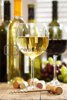 Glasses of wine with bottles