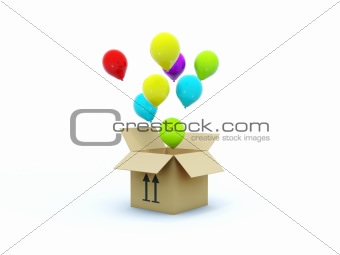 Box with air baloons