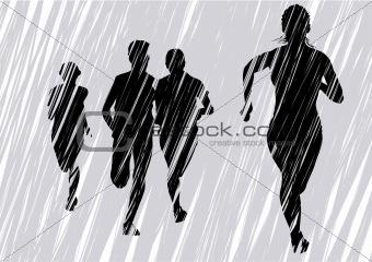 Fleeing women an gray