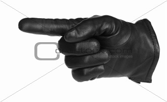 a black glove pointing, isolated on white