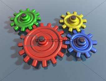 Brightly colored interlocking cogs