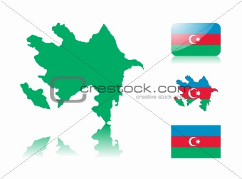 Azerbaijan map and flags