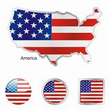 vector flag of america in map and web buttons shapes