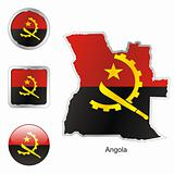 vector flag of angola in map and web buttons shapes