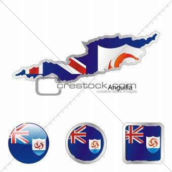 vector flag of anguilla in map and web buttons shapes