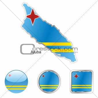 vector flag of aruba in map and web buttons shapes