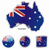 vector flag of australia in map and web buttons shapes