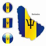 vector flag of barbados in map and web buttons shapes