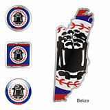 vector flag of belize in map and web buttons shapes