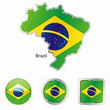 vector flag of brazil in map and web buttons shapes